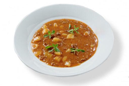Jídlo s rozvozem domů - gulášová polévka s poctivým masovým základem