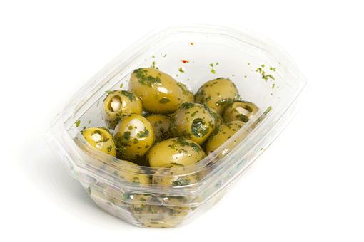 Obrázek Zelené olivy plněné mandlemi v bylinkové marinádě